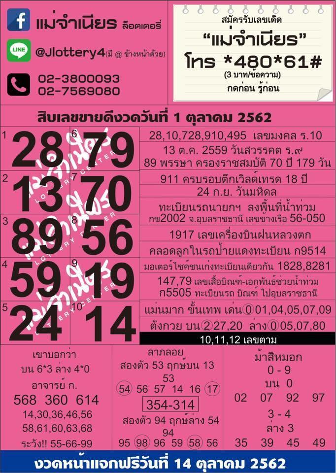 หวยแม่จำเนียร เลขเด็ดงวดที่ 1 ตุลาคม 2562